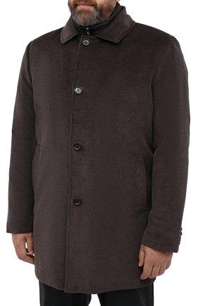 Мужской утепленное пальто из хлопка и шерсти MOORER темно-коричневого цвета, арт. M0NFERRAT0-LUS/A20M910LUSC   Фото 3 (Кросс-КТ: Куртка; Big sizes: Big Sizes; Рукава: Длинные; Материал внешний: Хлопок; Мужское Кросс-КТ: Куртка-верхняя одежда, Верхняя одежда, пальто-верхняя одежда; Материал подклада: Синтетический материал; Стили: Кэжуэл)