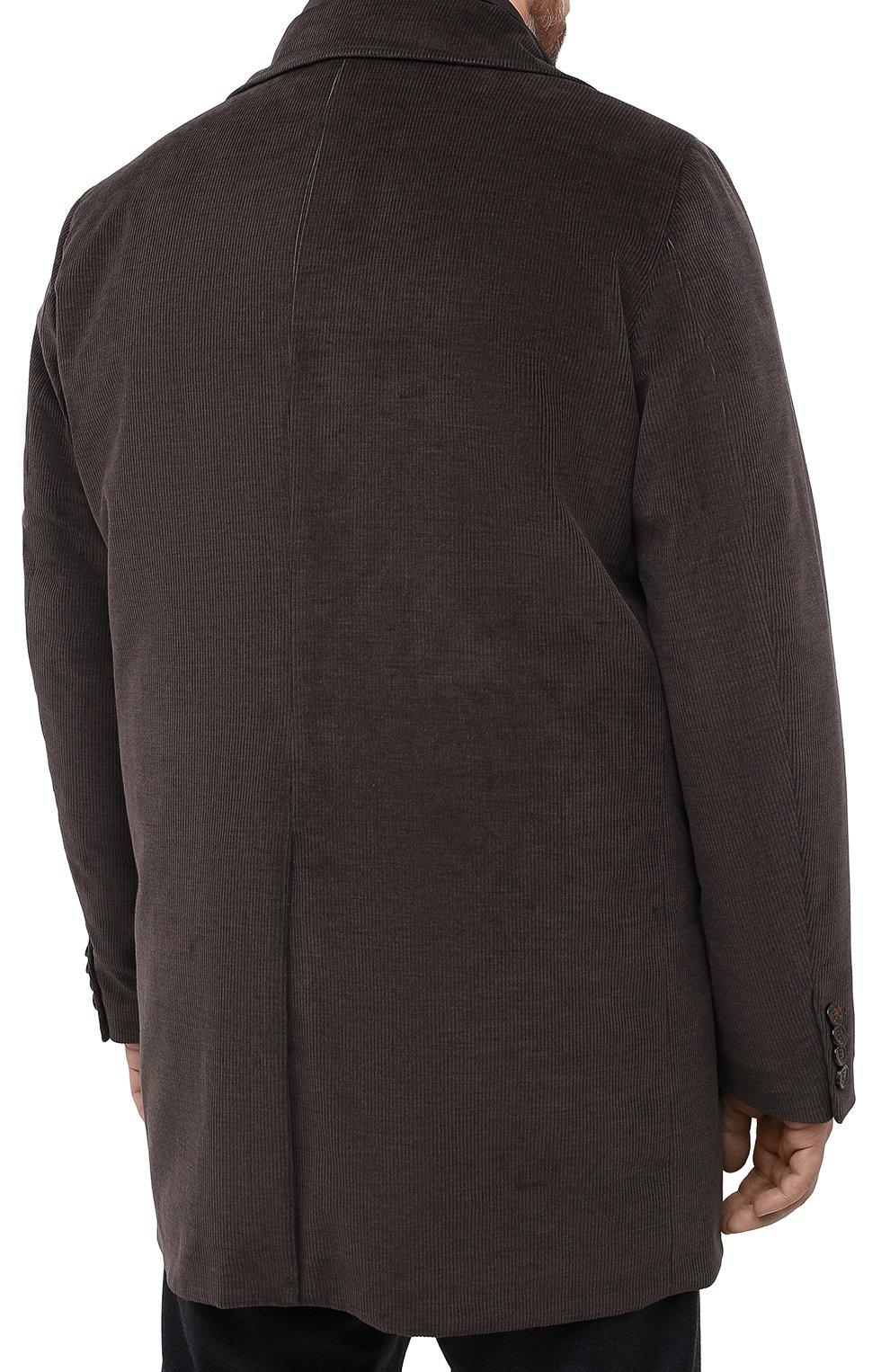 Мужской утепленное пальто из хлопка и шерсти MOORER темно-коричневого цвета, арт. M0NFERRAT0-LUS/A20M910LUSC   Фото 4 (Кросс-КТ: Куртка; Big sizes: Big Sizes; Рукава: Длинные; Материал внешний: Хлопок; Мужское Кросс-КТ: Куртка-верхняя одежда, Верхняя одежда, пальто-верхняя одежда; Материал подклада: Синтетический материал; Стили: Кэжуэл)