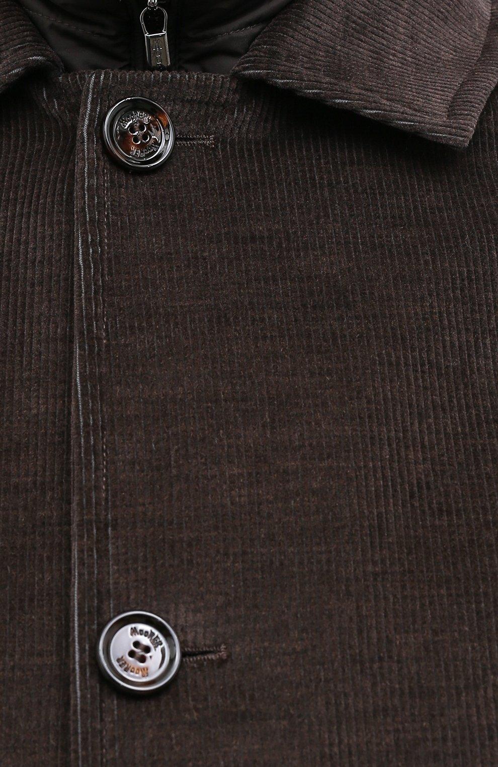Мужской утепленное пальто из хлопка и шерсти MOORER темно-коричневого цвета, арт. M0NFERRAT0-LUS/A20M910LUSC   Фото 5 (Кросс-КТ: Куртка; Big sizes: Big Sizes; Рукава: Длинные; Материал внешний: Хлопок; Мужское Кросс-КТ: Куртка-верхняя одежда, Верхняя одежда, пальто-верхняя одежда; Материал подклада: Синтетический материал; Стили: Кэжуэл)