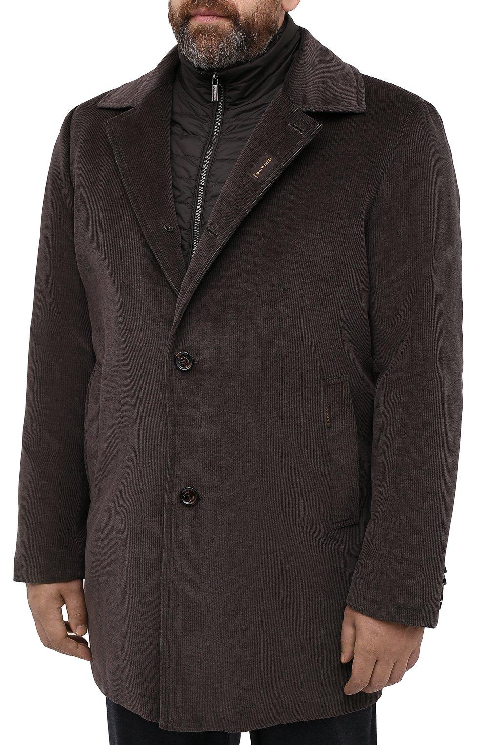 Мужской утепленное пальто из хлопка и шерсти MOORER темно-коричневого цвета, арт. M0NFERRAT0-LUS/A20M910LUSC   Фото 6 (Кросс-КТ: Куртка; Big sizes: Big Sizes; Рукава: Длинные; Материал внешний: Хлопок; Мужское Кросс-КТ: Куртка-верхняя одежда, Верхняя одежда, пальто-верхняя одежда; Материал подклада: Синтетический материал; Стили: Кэжуэл)