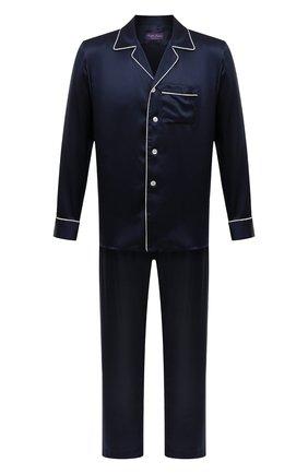 Мужская шелковая пижама RALPH LAUREN темно-синего цвета, арт. 790791911 | Фото 1