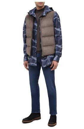 Мужская хлопковая рубашка KITON синего цвета, арт. UMCMARH0748301/45-50 | Фото 2