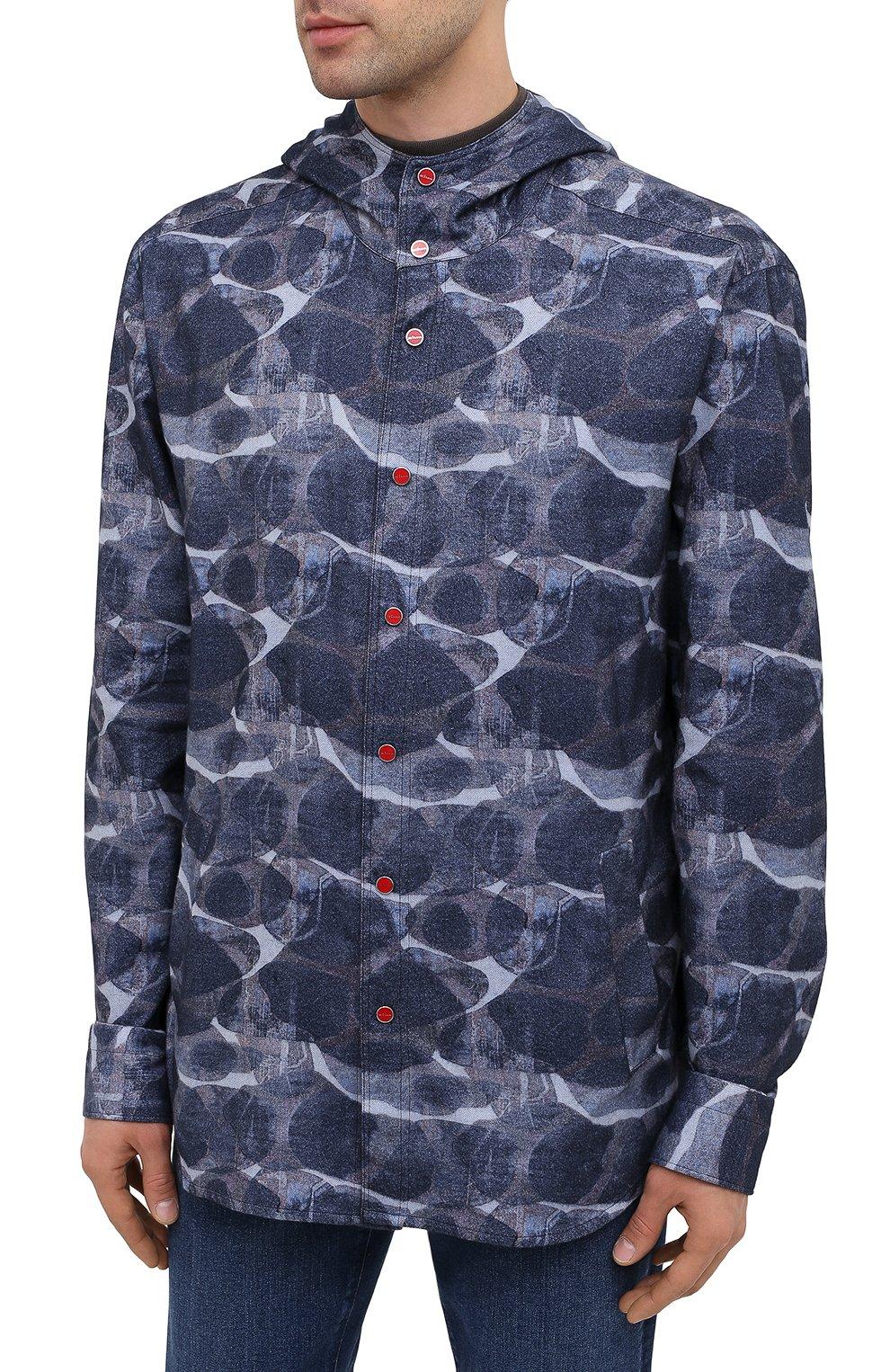 Мужская хлопковая рубашка KITON синего цвета, арт. UMCMARH0748301/45-50 | Фото 3