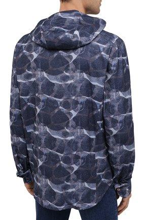 Мужская хлопковая рубашка KITON синего цвета, арт. UMCMARH0748301/45-50 | Фото 4