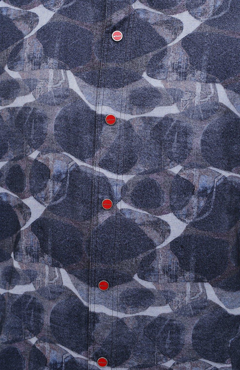 Мужская хлопковая рубашка KITON синего цвета, арт. UMCMARH0748301/45-50 | Фото 5