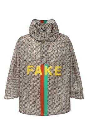 Мужская накидка «fake/not» GUCCI бежевого цвета, арт. 636396/4G355 | Фото 1