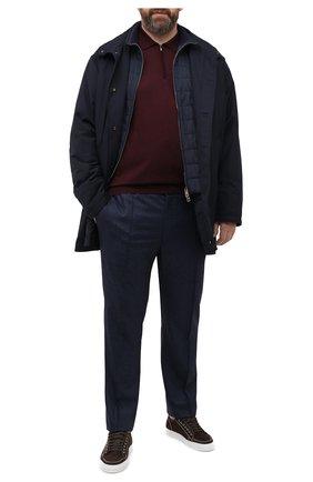 Мужские шерстяные брюки BRIONI темно-синего цвета, арт. RPM20L/0ZA0J/NEW SIDNEY | Фото 2 (Материал внешний: Шерсть; Длина (брюки, джинсы): Стандартные; Случай: Повседневный; Big sizes: Big Sizes; Стили: Кэжуэл)
