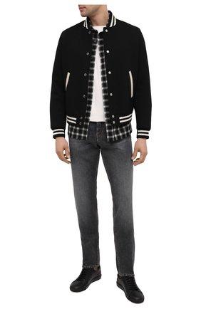 Мужская рубашка из шерсти и кашемира SAINT LAURENT черно-белого цвета, арт. 625756/Y1B97 | Фото 2