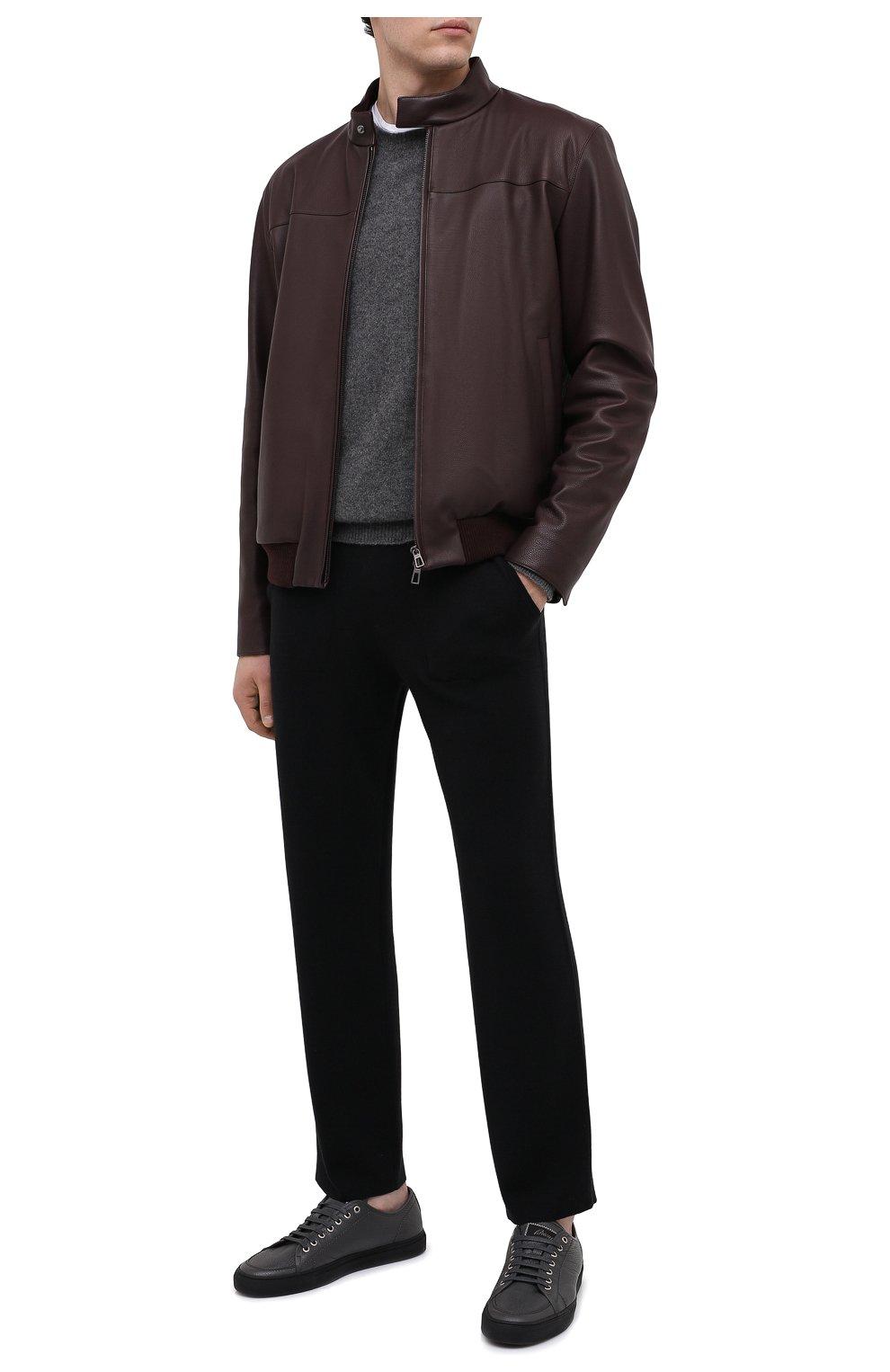 Мужские шерстяные брюки BRIONI черного цвета, арт. UMGL0L/09K07 | Фото 2