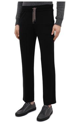 Мужские шерстяные брюки BRIONI черного цвета, арт. UMGL0L/09K07 | Фото 3
