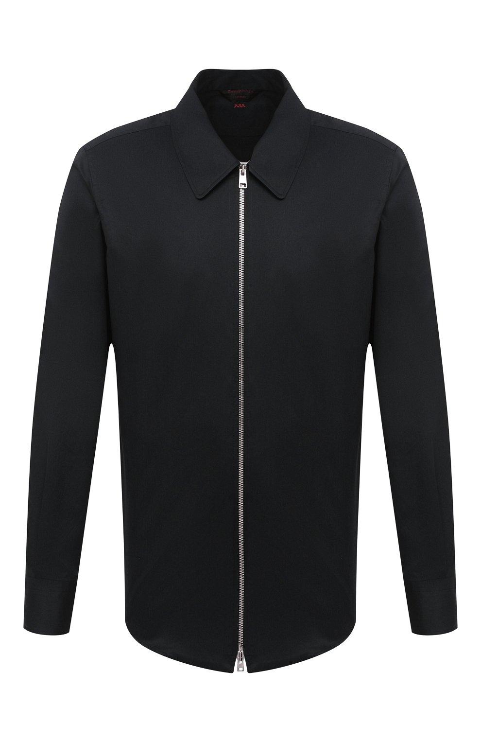 Мужская хлопковая рубашка ZEGNA COUTURE черного цвета, арт. 802134/9NGBNT | Фото 1
