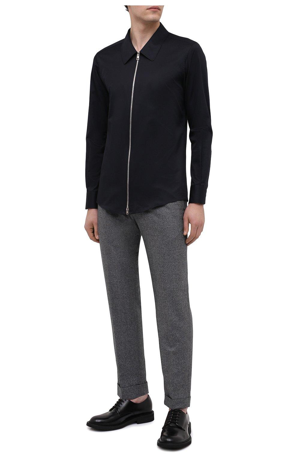 Мужская хлопковая рубашка ZEGNA COUTURE черного цвета, арт. 802134/9NGBNT | Фото 2