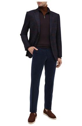 Мужские брюки из хлопка и кашемира ERMENEGILDO ZEGNA темно-синего цвета, арт. 865F07/77TB12 | Фото 2