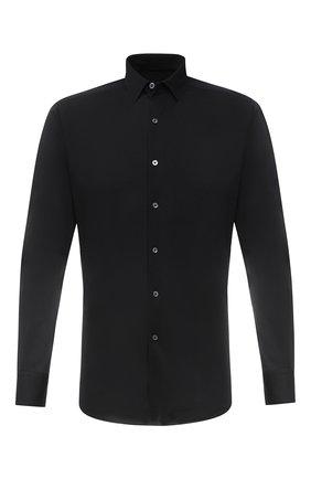 Мужская хлопковая рубашка ERMENEGILDO ZEGNA черного цвета, арт. UVX18/SRF5 | Фото 1