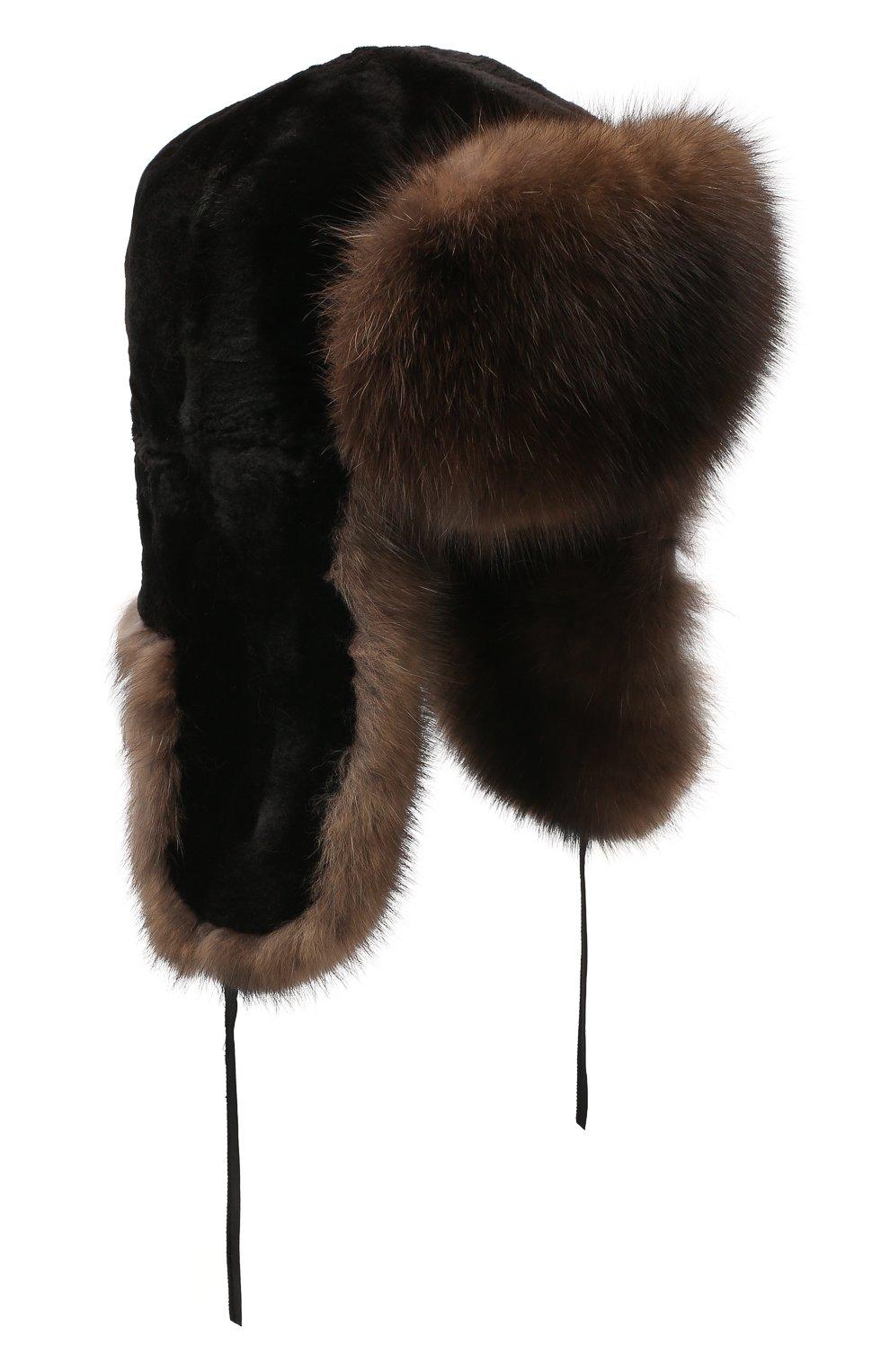 Мужская шапка-ушанка из меха соболя FURLAND черного цвета, арт. 0012207450090300000 | Фото 1