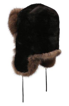 Мужская шапка-ушанка из меха соболя FURLAND черного цвета, арт. 0012207450090300000 | Фото 2