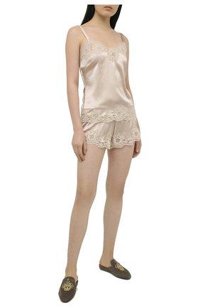 Женские шорты из шелка и хлопка DOLCE & GABBANA бронзового цвета, арт. 03B35T/FUAD8 | Фото 2