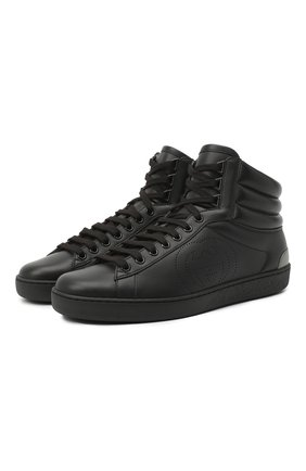 Мужские кожаные кеды ace GUCCI черного цвета, арт. 625672/1XG10 | Фото 1