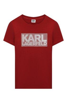 Детская хлопковая футболка KARL LAGERFELD KIDS бордового цвета, арт. Z25241   Фото 1