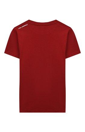 Детская хлопковая футболка KARL LAGERFELD KIDS бордового цвета, арт. Z25241   Фото 2