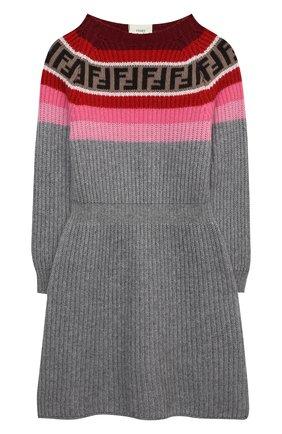 Детское платье из шерсти и вискозы FENDI серого цвета, арт. JFB394/GM4/3A-6A | Фото 1