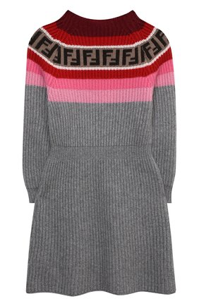 Детское платье из шерсти и вискозы FENDI серого цвета, арт. JFB394/GM4/3A-6A | Фото 2