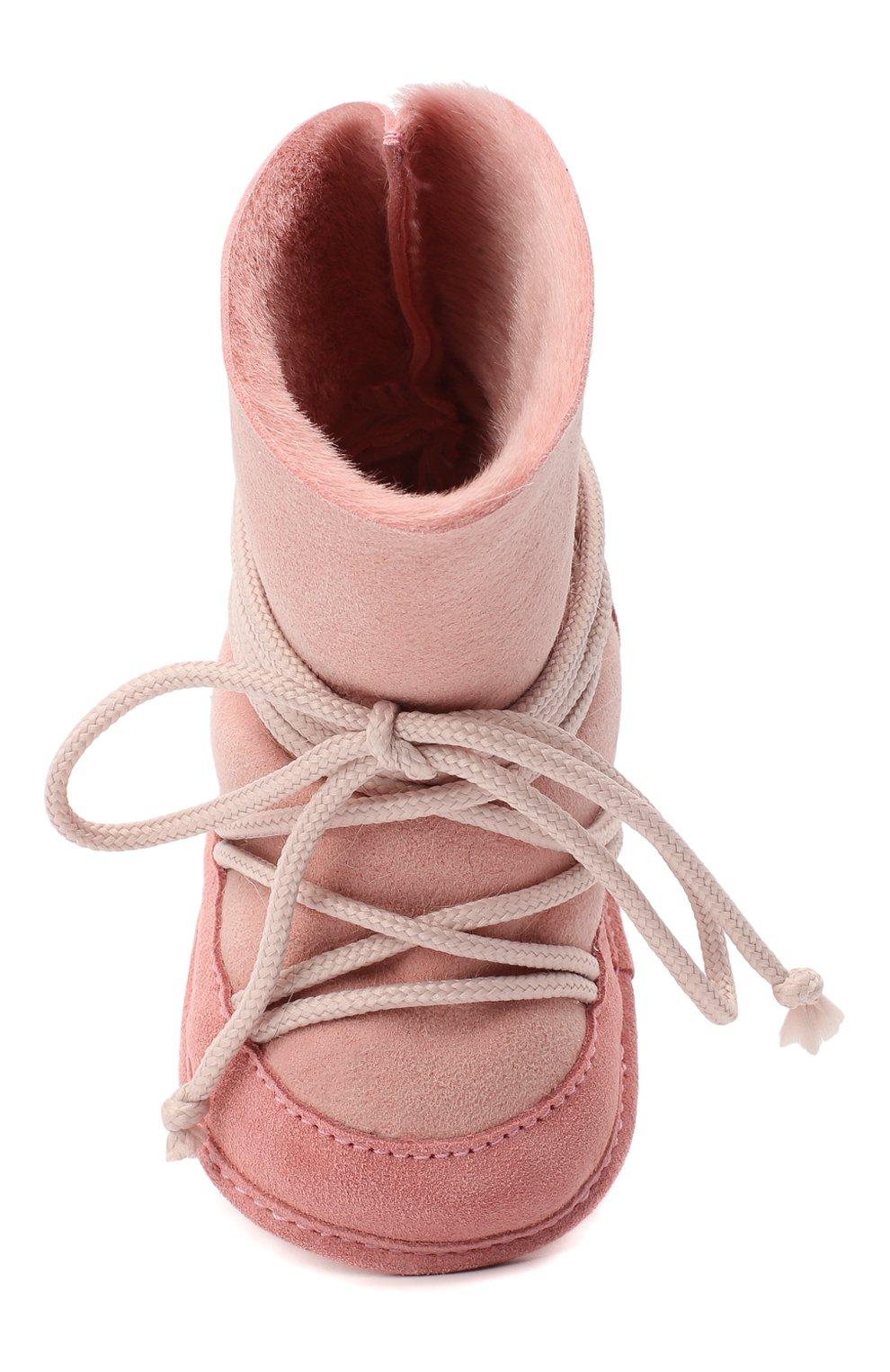 Детского замшевые ботинки INUIKII розового цвета, арт. 68302-50 | Фото 4