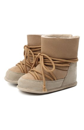 Детского замшевые ботинки INUIKII бежевого цвета, арт. 68302-50 | Фото 1
