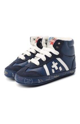 Детские кожаные кроссовки PREMIATA WILL BE синего цвета, арт. 11-00CU_BT09 | Фото 1