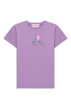 Детская хлопковая футболка NATASHA ZINKO фиолетового цвета, арт. FW20MNZ512-70/10-14 | Фото 1
