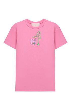 Детская хлопковая футболка NATASHA ZINKO розового цвета, арт. FW20MNZ511-09/10-14 | Фото 1