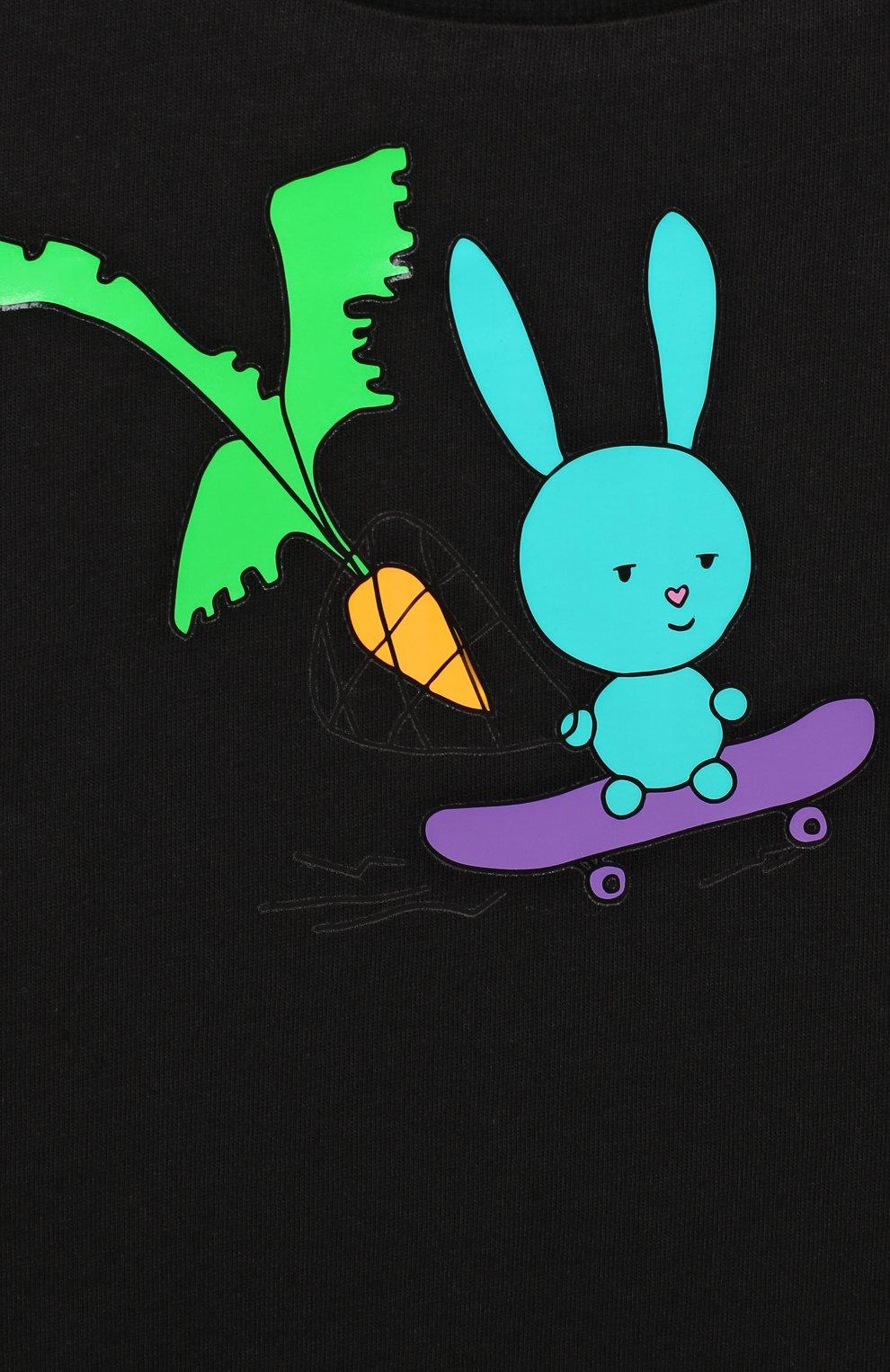 Детская хлопковая футболка NATASHA ZINKO черного цвета, арт. FW20MNZ510-01/10-14 | Фото 3