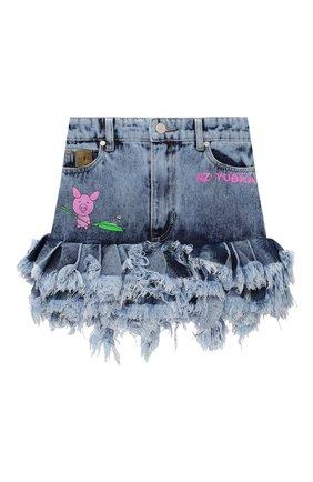 Детская джинсовая юбка NATASHA ZINKO голубого цвета, арт. FW20MNZ307-87/10-14 | Фото 1