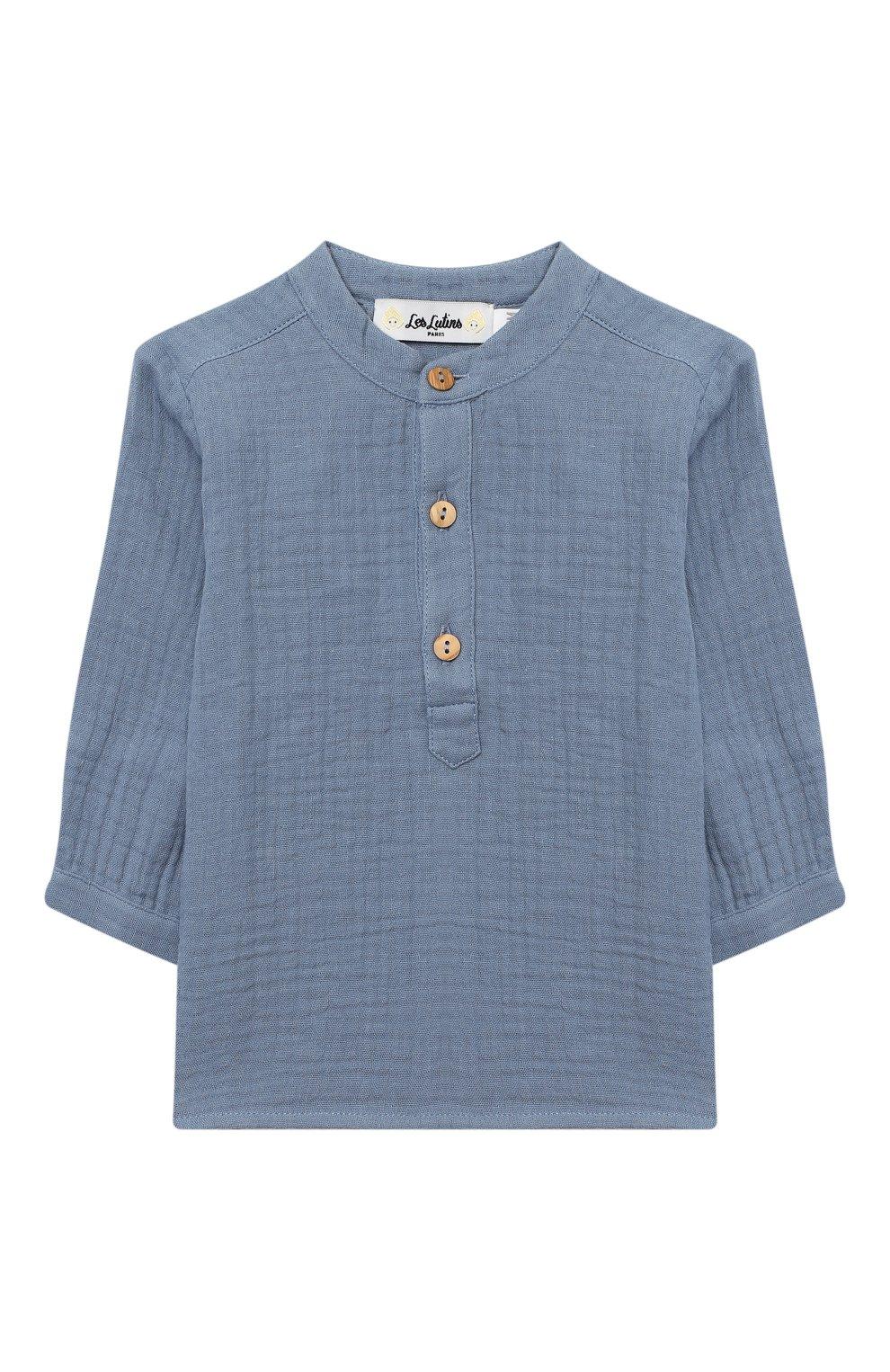 Детский хлопковая блузка LES LUTINS PARIS голубого цвета, арт. 20H336/T0M | Фото 1 (Рукава: Длинные; Материал внешний: Хлопок; Ростовка одежда: 9 мес | 74 см, 18 мес | 86 см, 24 мес | 92 см, 3 мес | 62 см, 6 мес | 68 см)