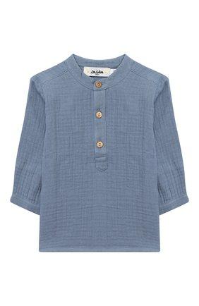 Детский хлопковая блузка LES LUTINS PARIS голубого цвета, арт. 20H336/T0M | Фото 1