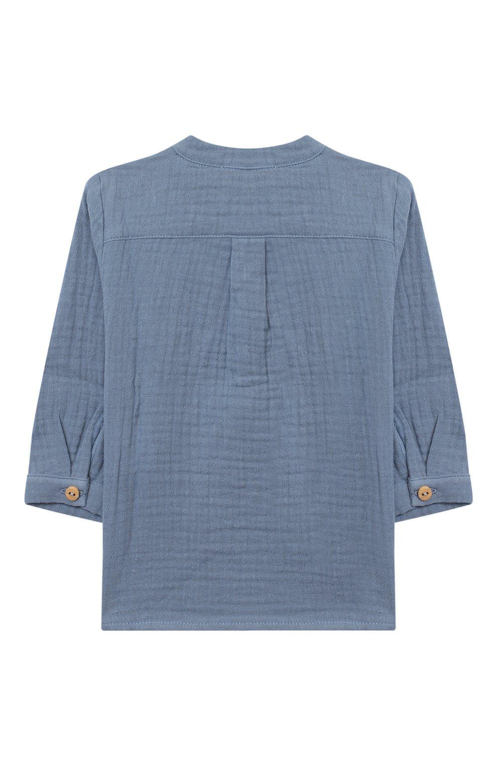 Детский хлопковая блузка LES LUTINS PARIS голубого цвета, арт. 20H336/T0M | Фото 2 (Рукава: Длинные; Материал внешний: Хлопок; Ростовка одежда: 9 мес | 74 см, 18 мес | 86 см, 24 мес | 92 см, 3 мес | 62 см, 6 мес | 68 см)