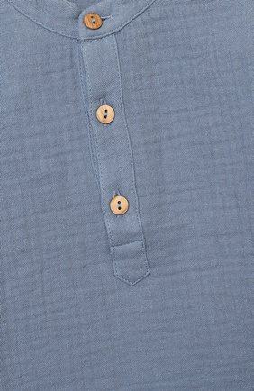 Детский хлопковая блузка LES LUTINS PARIS голубого цвета, арт. 20H336/T0M | Фото 3 (Рукава: Длинные; Материал внешний: Хлопок; Ростовка одежда: 9 мес | 74 см, 18 мес | 86 см, 24 мес | 92 см, 3 мес | 62 см, 6 мес | 68 см)