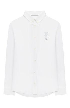 Детская хлопковая рубашка BRUNELLO CUCINELLI белого цвета, арт. BN664C301B | Фото 1