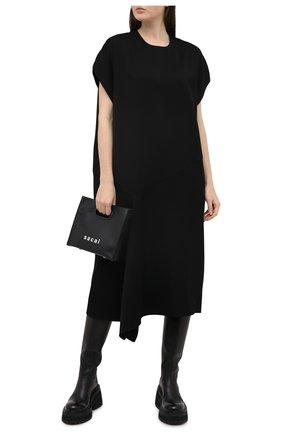 Женское шерстяное платье Y`S черного цвета, арт. YB-T40-130   Фото 2