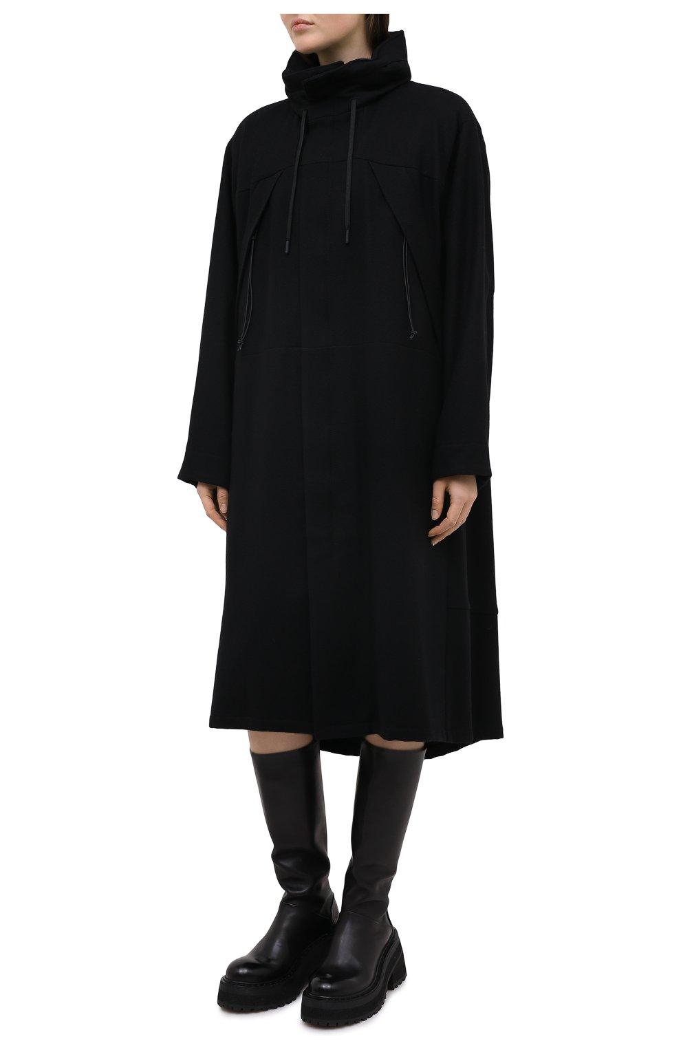 Женское шерстяное пальто YOHJI YAMAMOTO черного цвета, арт. FB-C51-107 | Фото 3
