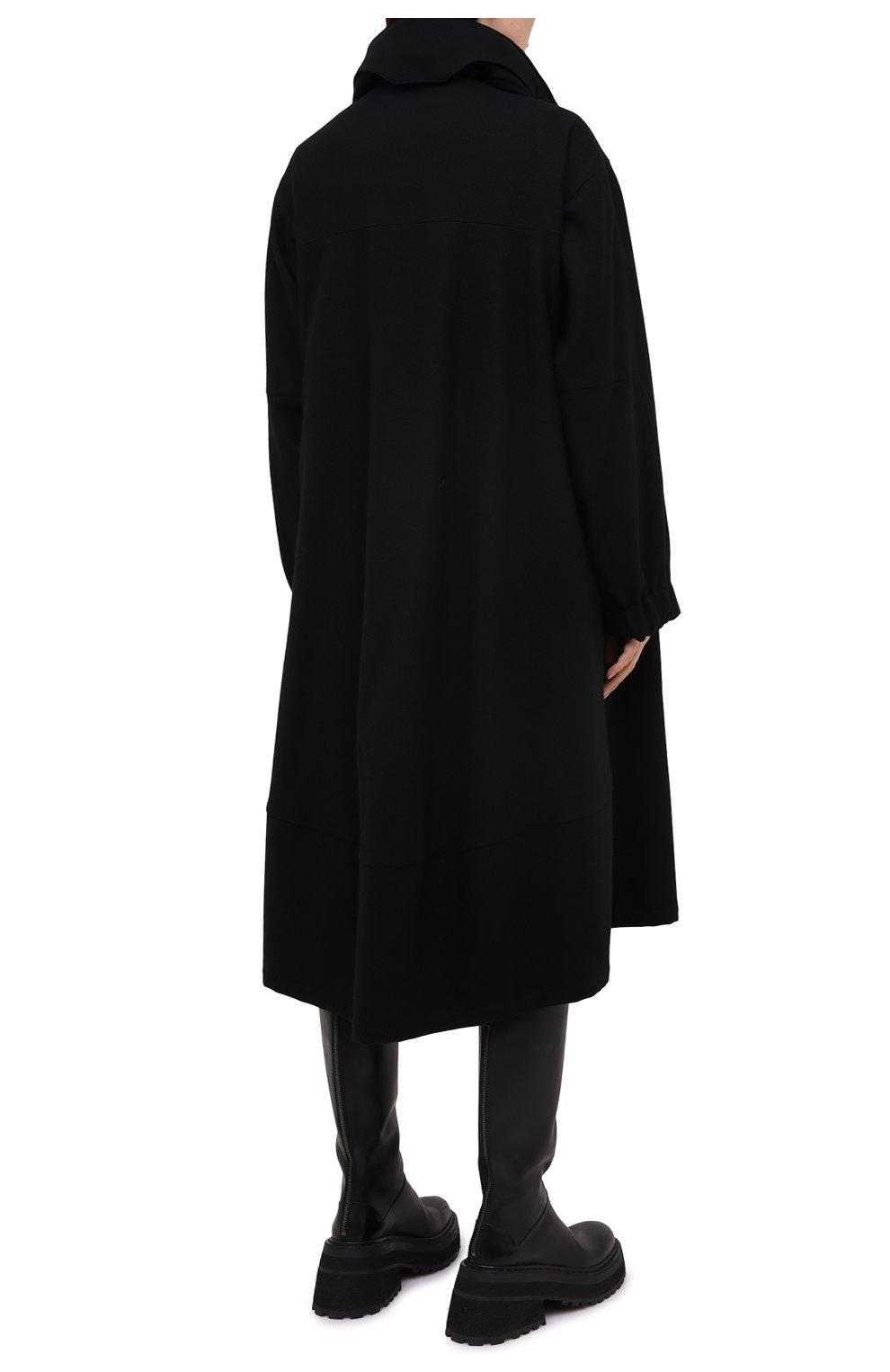 Женское шерстяное пальто YOHJI YAMAMOTO черного цвета, арт. FB-C51-107 | Фото 4