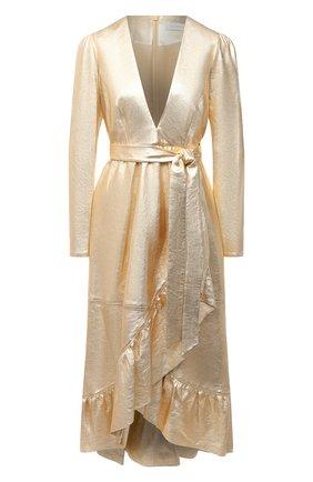 Женское кожаное платье ZIMMERMANN золотого цвета, арт. 8710DLAD | Фото 1
