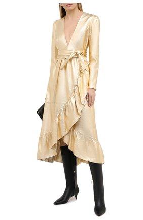 Женское кожаное платье ZIMMERMANN золотого цвета, арт. 8710DLAD | Фото 2