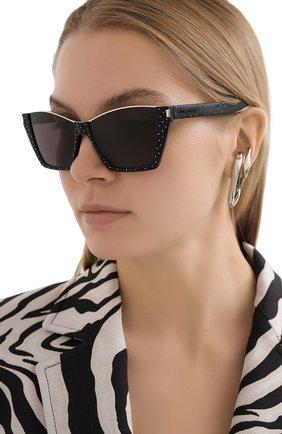 Женские солнцезащитные очки SAINT LAURENT серого цвета, арт. SL 369 KATE | Фото 2 (Тип очков: С/з; Очки форма: Cat-eye; Оптика Гендер: оптика-женское)