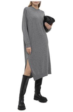 Женское кашемировое платье THE ROW серого цвета, арт. 5337F377 | Фото 2