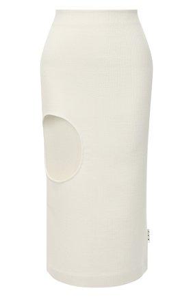 Женская шерстяная юбка OFF-WHITE кремвого цвета, арт. 0WCC111F20FAB0016100   Фото 1
