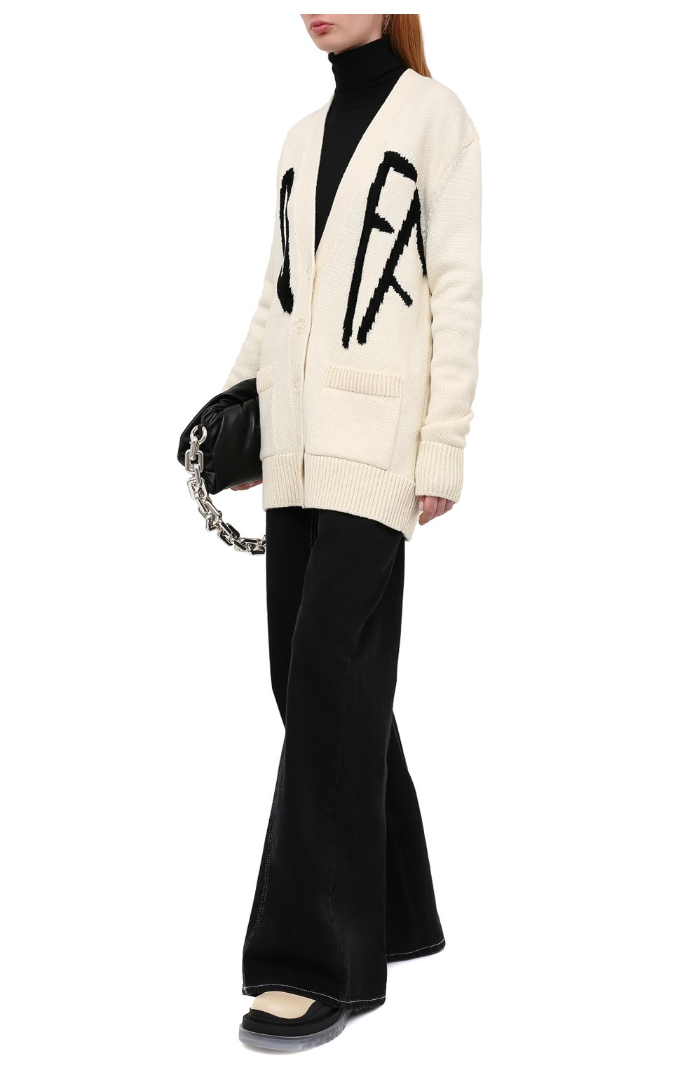 Женский шерстяной кардиган OFF-WHITE кремвого цвета, арт. 0WHB006F20KNI0016110 | Фото 2