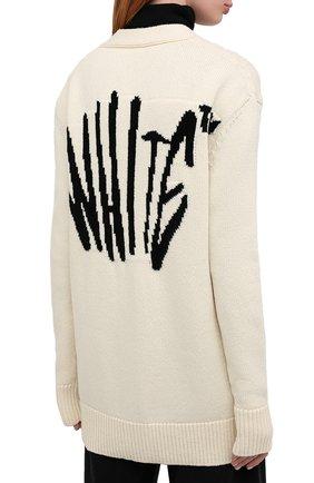 Женский шерстяной кардиган OFF-WHITE кремвого цвета, арт. 0WHB006F20KNI0016110 | Фото 4