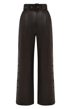 Женские кожаные брюки TWINS FLORENCE темно-коричневого цвета, арт. TWFAI20PAN0002D | Фото 1