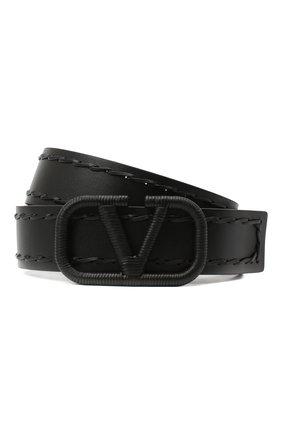 Женский кожаный ремень  VALENTINO черного цвета, арт. UW0T0S11/HEW | Фото 1 (Материал: Кожа)